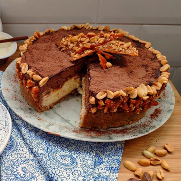 Cheesecake Crocante com Mousse de Chocolate